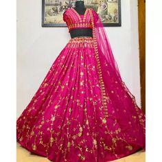 Lehenga Choli : Pink heavy taffeta silk embroidered work ...