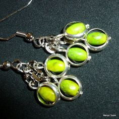 Crossed Paths Earrings Apple Green Chinese Turquoise by MangoTease