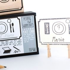 Place Card Stamp Activity Kit - yellow owl workshop