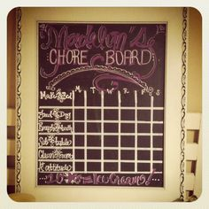 Custom hand painted chore board on a chalkboard. (Ready to take chores online? Try FamZoo.com)
