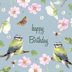 Art Birthday, Happy Birthday Flower, Happy Birthday Pictures, Birthday Images, Happy Birthday Wishes Cards, Birthday Sentiments, Vintage Birthday Cards, Happy B Day, E Cards