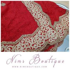 Maharani Red Sari with Light Gold edging & Red Thread Embroidery