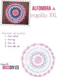 Crochet rug with tshirt yarn - free pattern and video Crochet Motifs, Crochet Flower Patterns, Crochet Diagram, Crochet Doilies, Crochet Flowers, Mandala Au Crochet, Mandala Yarn, Crochet Circles, Crochet Carpet