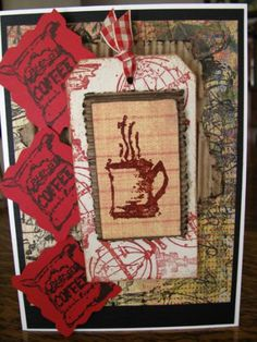 My coffe card. Hand Stamped Cards, Art Impressions, Scrapbooks, My Ebay, Coffee Cups, Fun Food, Search Engine, Frame, Stamps