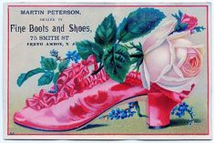 Vintage Clip Art - Ruffled Shoe with Roses - The Graphics Fairy