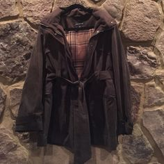 """""""Jones New York""""  hooded jacket w/ belt and snaps """"Jones New York""""  hooded jacket with belt and snaps- jacket is light weight, but very warm and cozy-never been worn- earthy brown color, size XL Jones New York Jackets & Coats"""