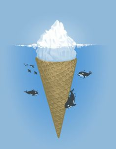 This picture just combines three things i love the most!!!!  Omgggggg LOVE it BADly haha    Ice Cream Iceberg. Illustration by Nacho Diaz