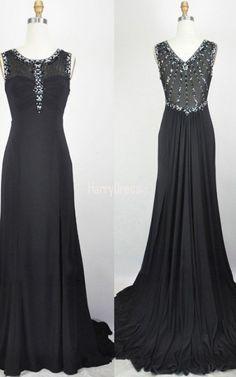 Black Trumpet Mermaid Scoop Neck Chiffon Tulle Sweep Train Split Front Long  Prom Dress