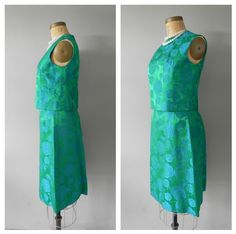 vintage 50s/ 60s brocade holiday dress - matching separates - skirt set - emerald green and bright blue - small to medium. $42.00, via Etsy.