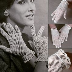 Crochet Patterns Gloves Ivory Lace Vintage Wedding Bridal Wedding Bride by LiuMyItems similar to Bridal crochet gloves fashionable cut-out with pearls on Etsy These crochet gloves are made out of cotton yarn. Has an elastic string on the After long e Cotton Gloves, Lace Gloves, Knitted Gloves, Crochet Gloves Pattern, Crochet Lace Edging, Crochet Patterns, Vintage Bridal, Bridal Lace, Etsy Vintage