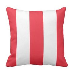 #pretty - #Chic Bright Coral Red Bold Mod Stripes Pattern Throw Pillow