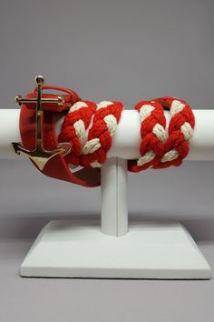 "Attention Nautical Lovers!  This one is for you!  Red & white braided rope belt with gold anchor.  Classic!  Shop: https://www.shoppinwithsailin.com/collections/belts/products/timeless-red-white-braided-belt-with-anchor-buckle?utm_content=bufferec5be&utm_medium=social&utm_source=pinterest.com&utm_campaign=buffer  Approximately 3/4""-1"" wide and 38""-39"" long FREE SHIPPING!!!"