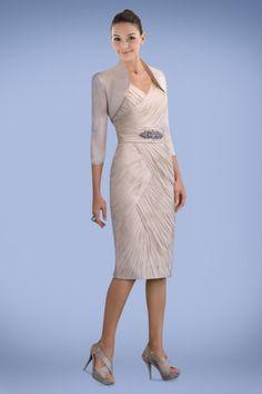 Magnificent Sheath Knee-length Mother of the Bride Dress with Sleek Bolero