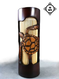 """Tiki Lamp Hand Carved From Bamboo, 10"""" Tall, TURTLE by Nativewoodshop on Etsy https://www.etsy.com/listing/270294450/tiki-lamp-hand-carved-from-bamboo-10"""