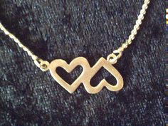 Sterling silver heart necklace, 925 silver linked hearts 16 inches 4.8g #Unbranded #Choker