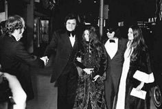 Johnny & June Carter Cash with Roy & Barbara Orbison as they attend the Grammys on March 3, 1973. — w