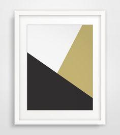 Gold Geometric Print Minimalist Gold and door MelindaWoodDesigns