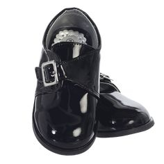 Black Patent Dress Shoes with Cross Over Velcro Strap (Toddler Boys Sizes)