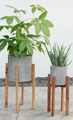 Modern Wood Leg Planter