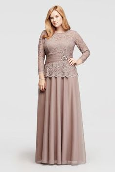 Designed with thoughtful details, this long-sleeve dress with a scalloped neckline and sleeves is a beautiful option for wedding guests. The allover glitter lace top features a beaded embellishment at the waist and finishes with a flowing taffeta skirt. By Cachet Polyester, nylon, spandex Back zipper; fully lined. Spot clean Imported Protect your dress before you wear it with our Garment Bag