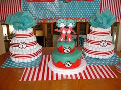 Thing 1 & Thing 2 diaper cakes and actual cake for a Baby Shower for Twins