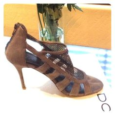 Taupe suede heels Back zippered, 2.5 inch heel with mesh detail Aldo Shoes Heels