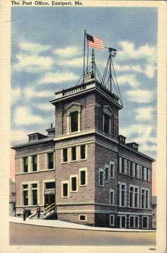 Eastport Maine post office building linen vintage postcard