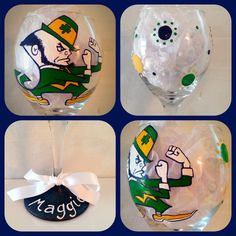 Notre Dame Wine Glass Hand Painted ~ Fighting Irish Wine Glass ~ Notre Dame Gifts ~ Personalized Christmas Gifts ~ Sports Fan Gifts by WattsGoodArtistry on Etsy. Follow WattsGood Artistry on Facebook: https://www.facebook.com/wattsgoodartistrydesigns
