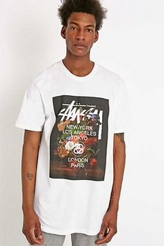 Stussy Floral Tee in White - Urban Outfitters