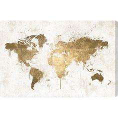 Gimme largegoldfoilworldmaponcanvas travel decor gold oliver gal mapamundi white gold canvas art the visually striking oliver gal mapamundi white gold canvas art takes a map of the world and punches it up gumiabroncs Gallery