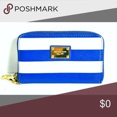 "Michael Kors Crisp Blue & White stripe wristlet MK Stripe Wristlet  Blue & White  Gold hardware  Width: 1"" Length: 5.75"" Height: 3.5"" Like new condition. Michael Kors Bags Clutches & Wristlets"