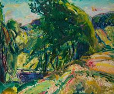For Sale on - Landscape with Green Tree, Oil Paint, Board by Alfred Henry Maurer. Offered by Questroyal Fine Art. Oil Painting Gallery, Oil Painting Frames, Modern Oil Painting, Artist Painting, Oil Paintings, Online Painting, Green Trees, Fine Art Gallery, Landscape Paintings