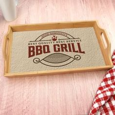This personlized serving tray has the grill master's name and is the perfect way to bring all your burgers to the grill! Personalized Housewarming Gifts, Personalised Gifts For Him, Bbq Grill, Barbecue, Grilling, Bamboo Box, Bbq Set, Name Gifts, Grill Master