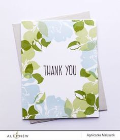 Thank you card featuring the Floral Fantasy Stamp Set. Masking technique was used to create a floral frame around the edges of the card. www.altenew.com
