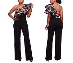 ae325c5d87 Prettyever Jumpsuits-apparel Prettyever Stylish Hot Fashion Women s  Shoulder Embroidery Ruffled Jumpsuit