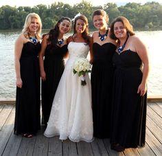 Long chiffon, sweetheart neckline by #dessy #black #bridesmaids