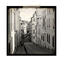 Paris Montmartre Street  Ruelle Paris  Black and by quatregitans, $30.00