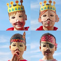 5 Paper Masks  Children Party Favor  Viking King Queen by pukaca