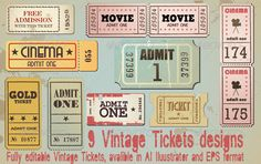 Vintage Cinema Tickets #GraphicRiver Vintage Cinema Tickets Features: - Vector EPS - AI Illustrator vector file Technical informations: - Fully resizable - CMYK color mode - Links to download fonts: .dafont , .1001freefonts Created: 13 December 13 Graphics Files Included: Vector EPS #AI Illustrator High Resolution: No Layered: No Minimum Adobe CS Version: CS Pixel Dimensions: 590x371 Tags admission #cinema #coupon #entertaiment #entrance #film #label #movie #old #retro #ticket #vintage…