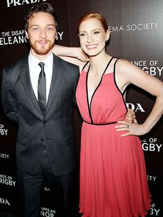 James McAvoy and Jessica Chastain get chummy on the red carpet at Wednesday's Cinema Society screening of their movie, The Disappearance of Eleanor Rigby, held at New York's Landmark Sunshine Cinema and hosted by The Weinstein Company and Prada.