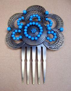Vintage hair comb Spanish dance mantilla blue