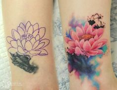 No photo description available. Small Lotus Flower Tattoo, Flower Wrist Tattoos, Flower Tattoo Back, Flower Tattoo Shoulder, Tribal Tattoos, Tattoos Skull, Tatoos, Tattoo Sleeve Designs, Flower Tattoo Designs
