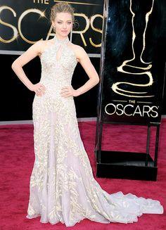 Amanda Seyfried wowed in an embroidered halter-neck Alexander McQueen gown and Lorraine Schwartz jewels.