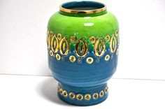 Bitossi Studios Modern Decorative Vase Italy Pottery Designs, Pottery Art, Color Shades, Shades Of Green, Green And Gold, Blue Green, Vases Decor, Decorating Vases, Vintage Italy