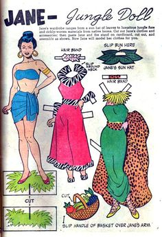 """comicsoughtabefun: Paper Doll Month, Day 6: The Fashions That Made Tarzan Do That Yell """"Jane: Jungle Doll"""" from Dell Giant #25 [Tarzan's Jungle World] (November 1959); pencils, inks, and letters by Tony DiPaola"""