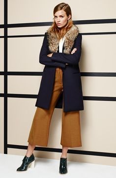 Theory Wool Blend Coat & Flared Trousers available at #Nordstrom