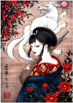 Princess Mononoke, Lady Eboshi Moro the Wolf Goddess #ghibli
