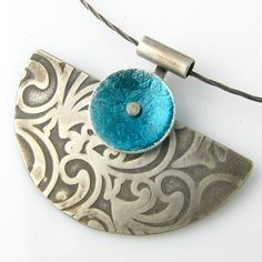 Sterling Turquoise Pendant Oxidized Silver Texture Pattern Enamel