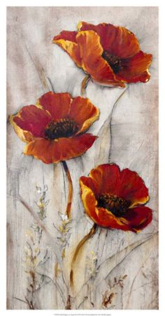 Red Poppies on Taupe II Posters by Tim Otoole