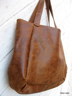 Distressed Brown Leather Slouchy Tote Bag by Stacy by stacyleigh, $285.00